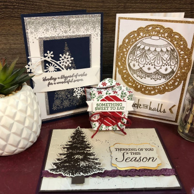 Facebook Live Creations using Stampin Up! New Snowflake Showcase Stamping with DonnaG!